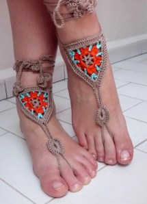 Free Shipping Knitted Barefoot Sandals Crochet