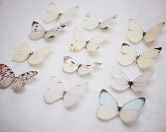 items similar to amongst the hollyhocks five white pure silk butterfly hair clips on etsy