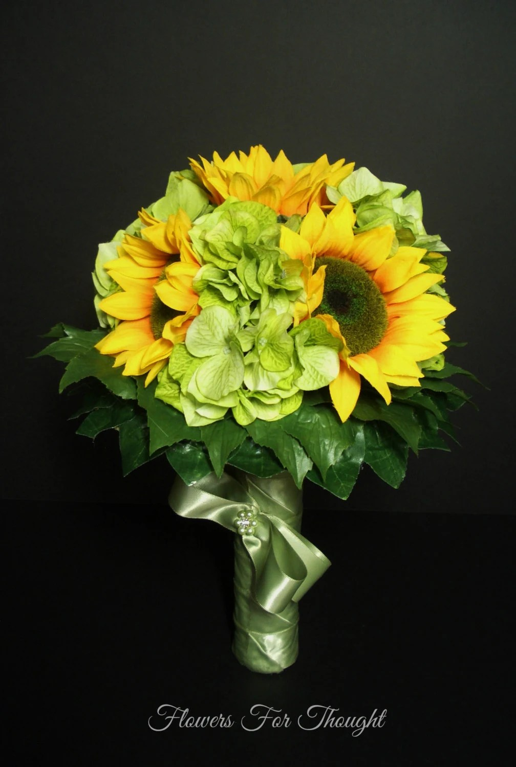 Sunflower Wedding Bouquet Hydrangea and by FlowersForThought