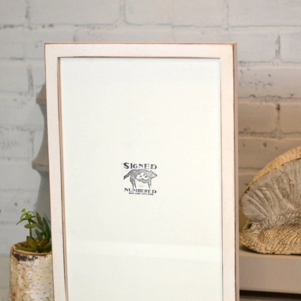 11x17 Frame In 1x1 Flat Style With Vintage White Finish - Handmade Rustic