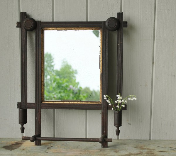 Antique Victorian Mahogany Mirror With Towel Bar