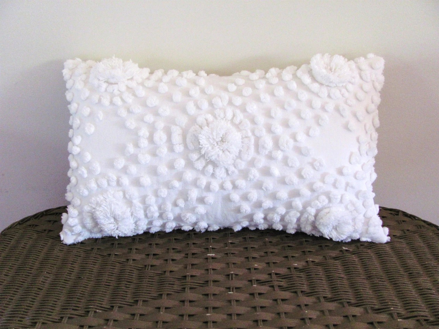 White chenille pillow cover 12 X 20 inches shabby cottage