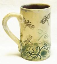 ceramic dragonfly coffee mug 16oz stoneware 16D005