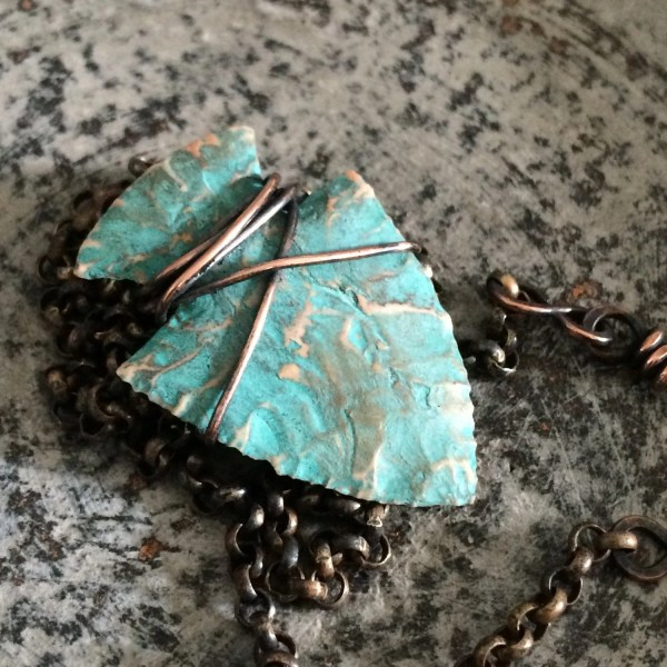 Turquoise Arrowhead Necklace Knapped Arrow Head Wire Wrapped