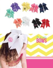 monogrammed hair bow cheer