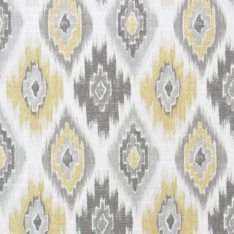 Grey Yellow Ikat Upholstery Fabric Yellow Ikat Cotton Curtain
