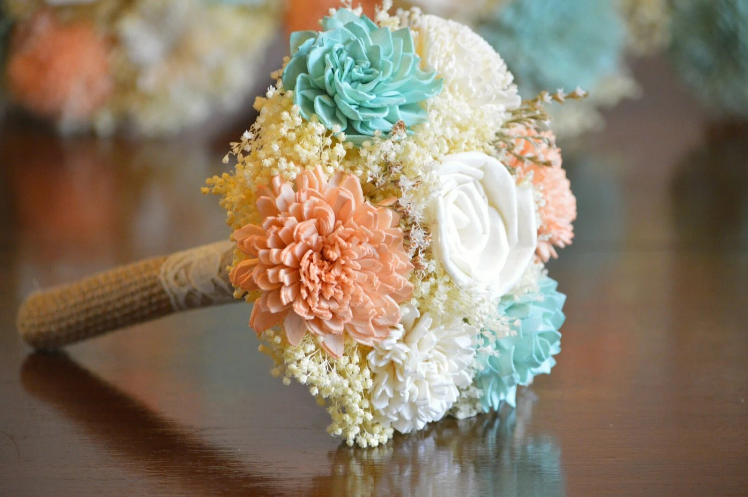 Small Wedding Bouquet Ivory Soft Mint Blue By