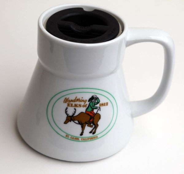 Vintage 80s Big Ceramic Travel Mug Wide Base Wandering Elks El