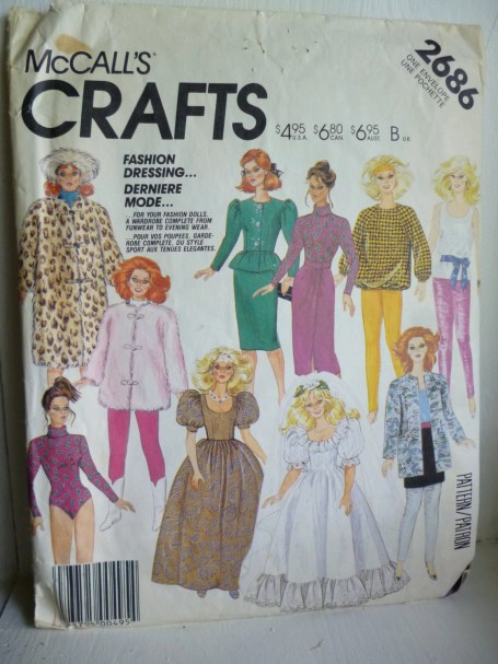 McCalls 2686 11.5 inch Barbie Maxie Fashion Dolls Wardrobe Vintage Sewing Pattern Cut Complete | Jungleland Vintage on Etsy