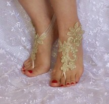 Gold Bridal Barefoot Sandals Accessories Dance Shoes