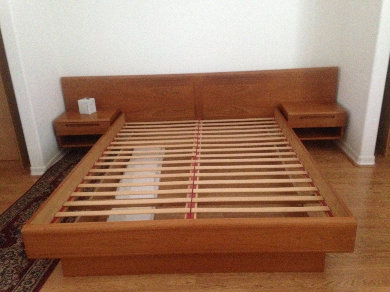 Danish Modern Jesper Platform Bed Floating Nightstands Mcm