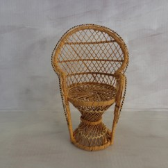 Fan Back Wicker Chair Antique White Round Table And Chairs Vintage Rattan Doll Size