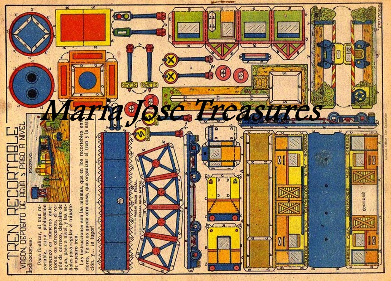Vintage Spanish Train Paper Doll Cut Outs Digital Download