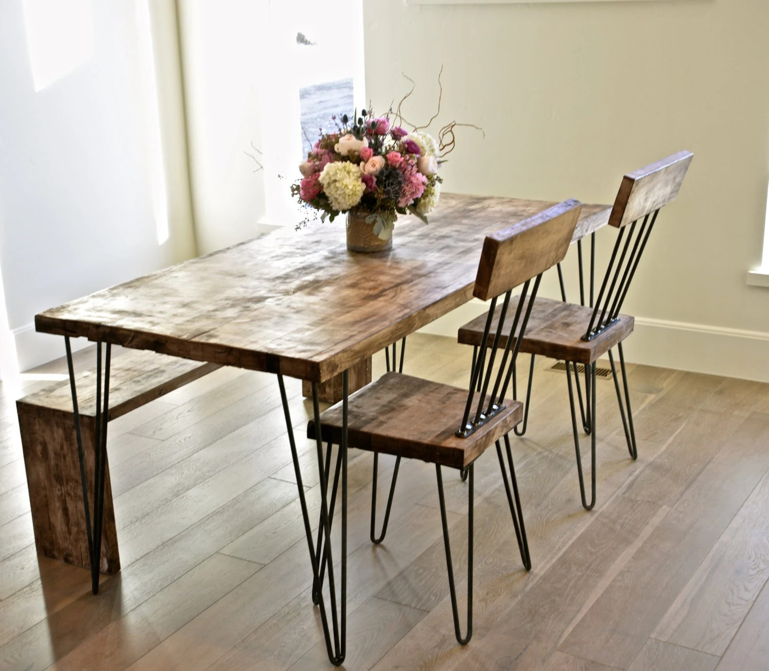 Hairpin Leg Chair Solid Maple Hairpin Dining Table With Chairs And Bench