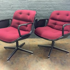 Maroon Office Chairs Hanging Bubble Chair With Stand Charles Pollock For Knoll Red Fabric  Haute