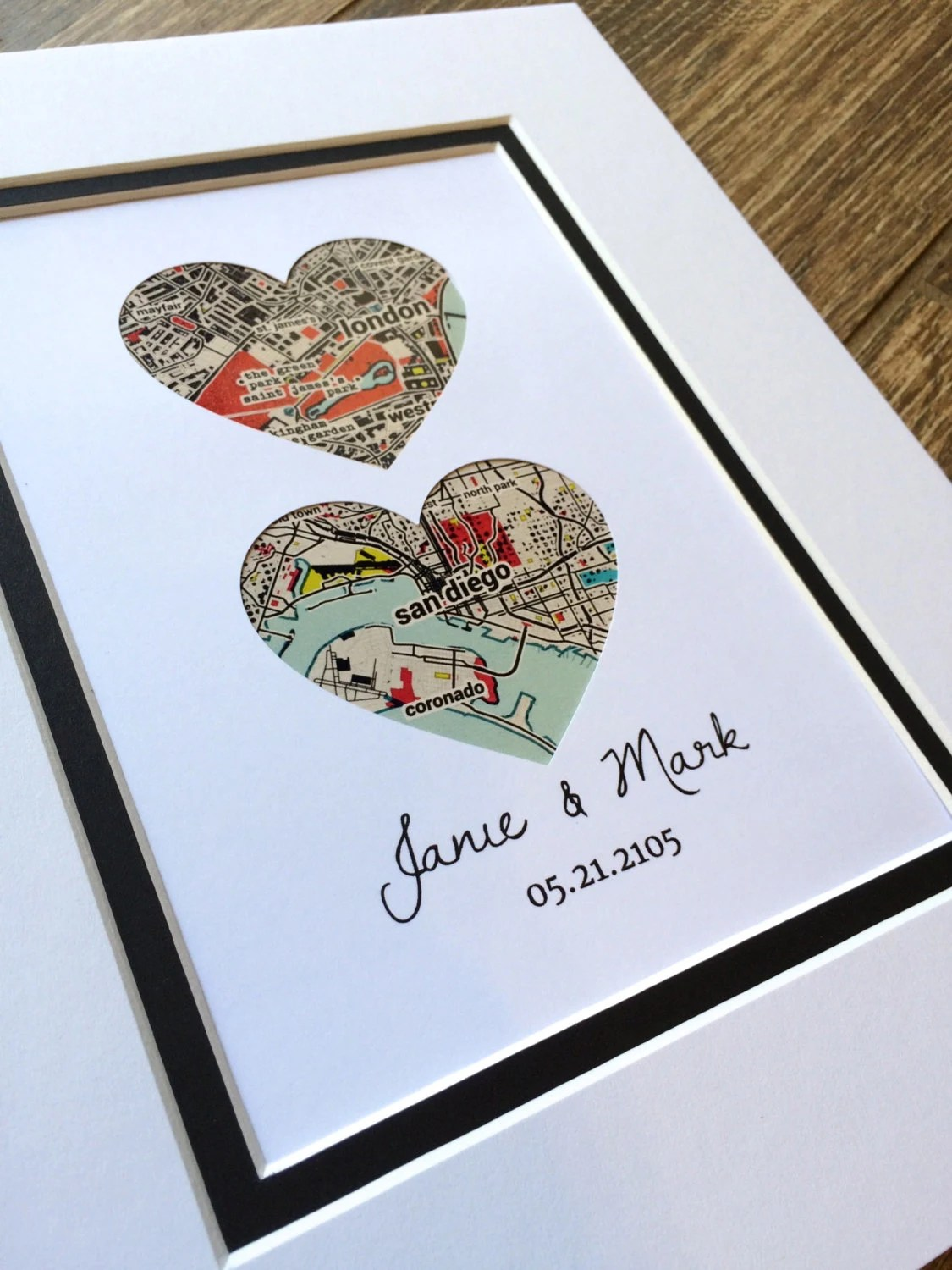 Map Art First Anniversary Or Wedding Gift Map Heart One