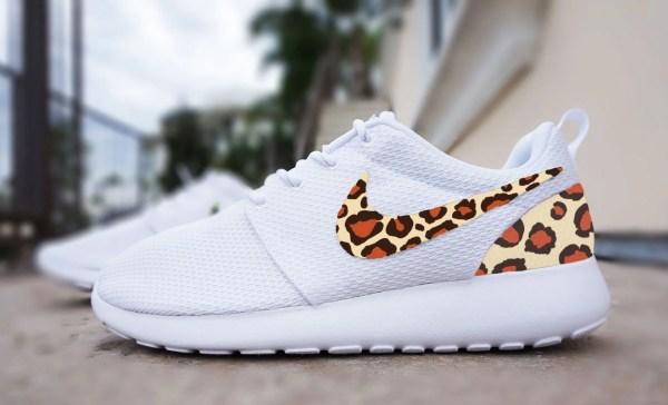 Womens Custom Nike Roshe Run Sneakers Cheetah Customsneakz
