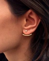 behind the ear earring hooks crystal ear jacket front back ...