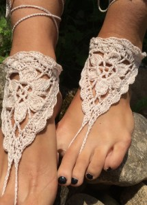 Wedding Barefoot Bridal Sandals Cream Shoes Crochet