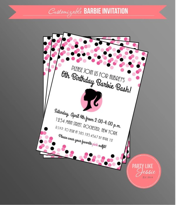 Customizable Barbie Birthday Party Invitation