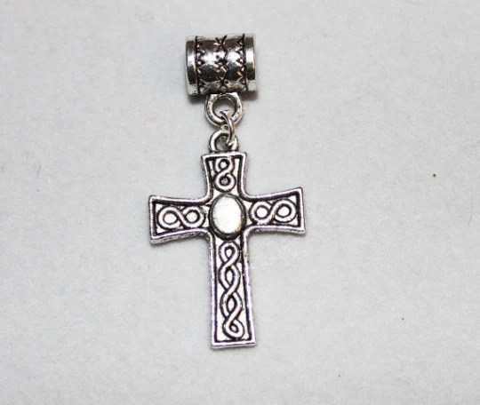 Silver Celtic Cross Lrg Hole Bead Fits All European Add a