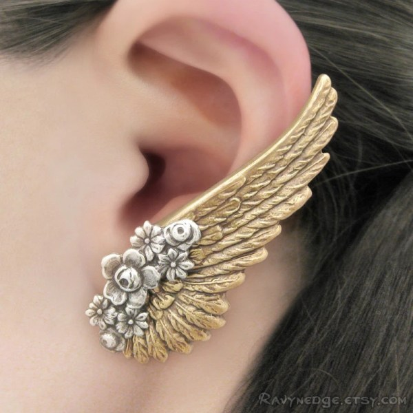Serenity Brass Angel Wing Earrings Clip Earring