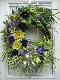Front Door Wreath Summer Wreath Large Spring Spray Silk Floral