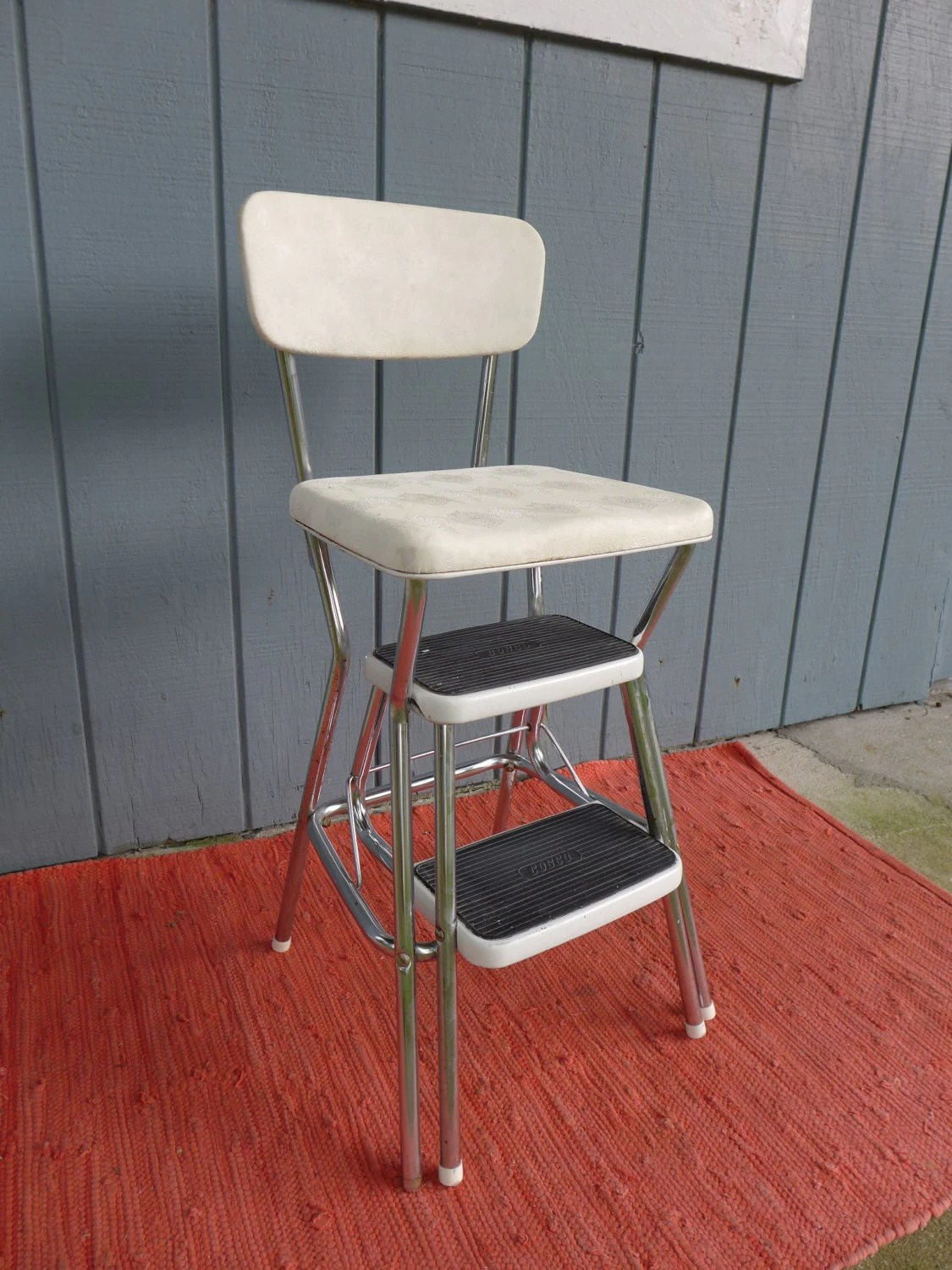 chair step stool diy cushion with piping vintage white cosco pull out steps metal