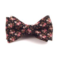 Black Bow Tie Floral Bow Tie Black Pink and Gold Brown