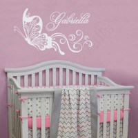 Butterfly Wall Decal Nursery Name Decal Baby Girl Nursery