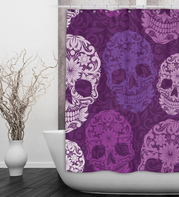 Sugar Skull Shower Curtain Dia de Meurtos Shower by InkandRags