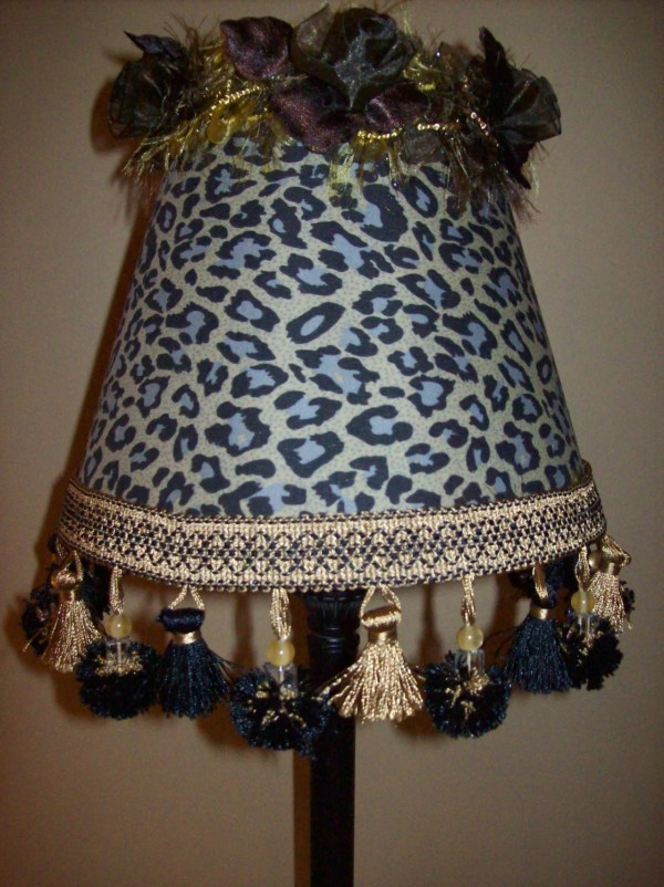 Leopard Lamp Shade Original Alice With Black And Gold Bead