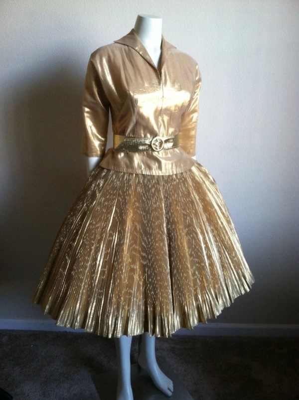 Vintage 50s Gold Lame Fitted Blouse Pleated Full