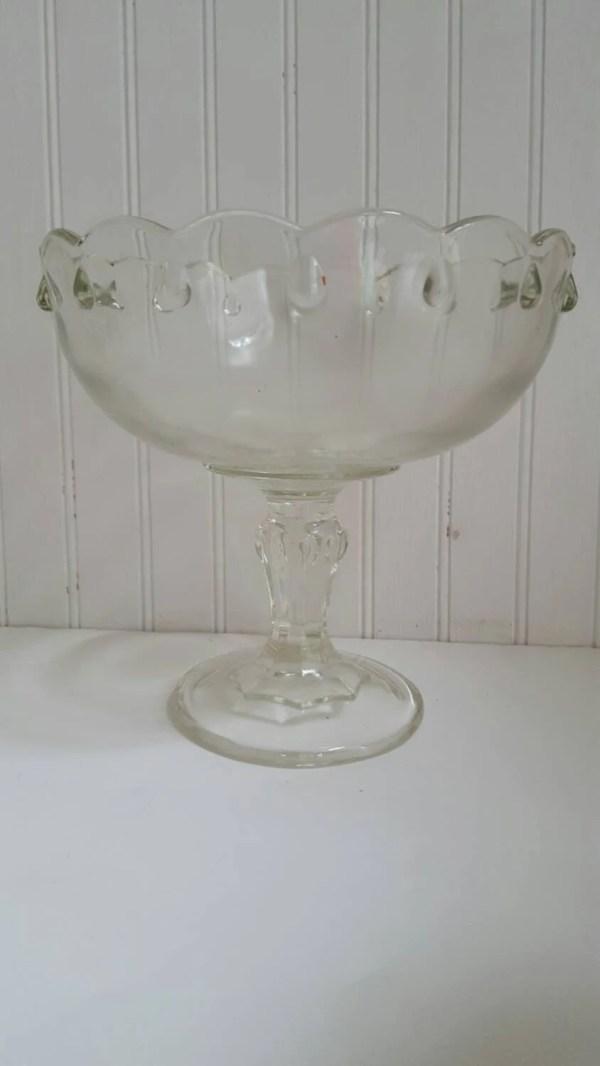 Vintage Glass Bowl Pedestal Clear Teardrop