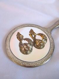 Vintage Spanish Brass & Enamel Hoop Clip-On Earrings