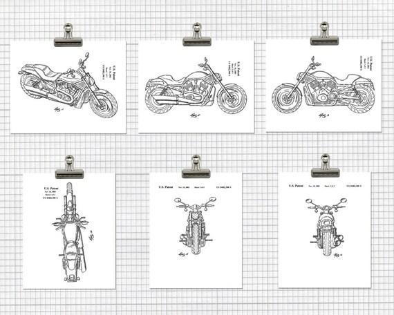 Harley Patent Print Harley Davidson Poster Motorcycle Mechanic