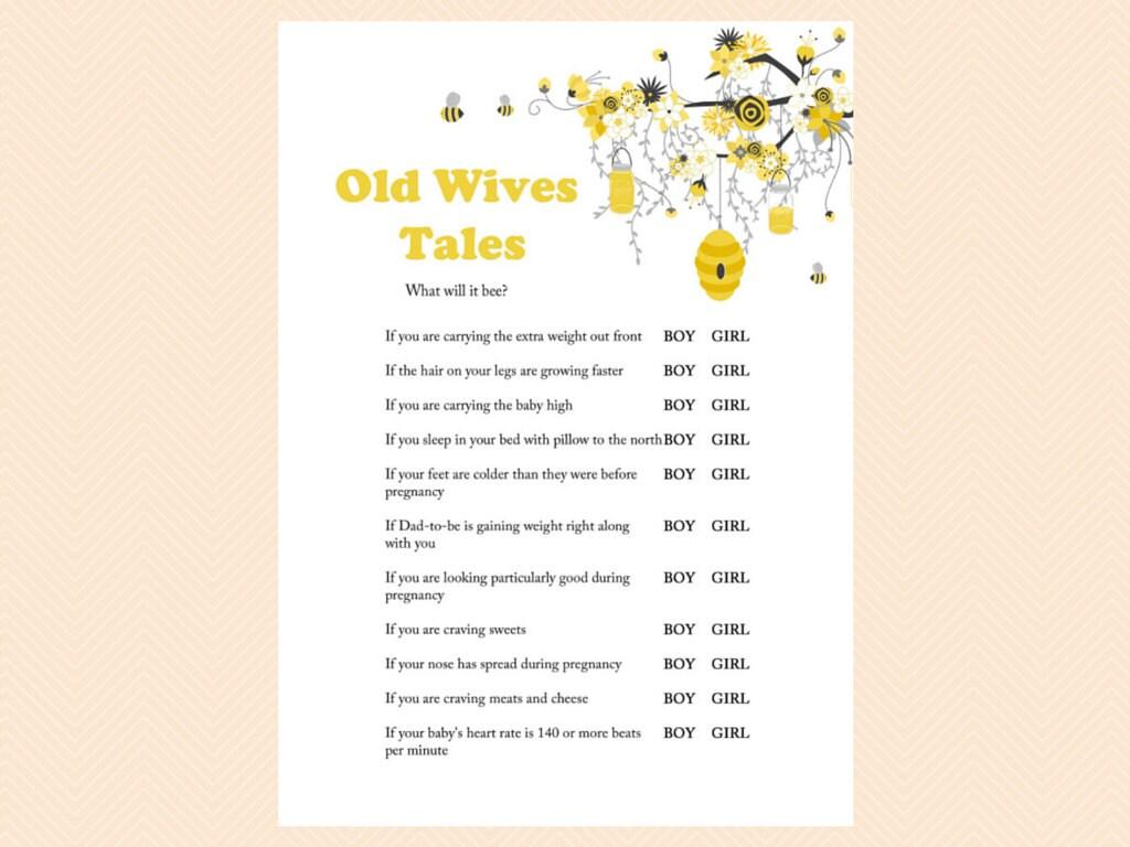 Old Wives Tales Gender Reveal Game Boy Or Girl Printable