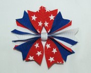 red white and blue hair bow spiky