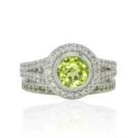 Wedding Ring Set Lime Green Peridot and Diamond Split Shank