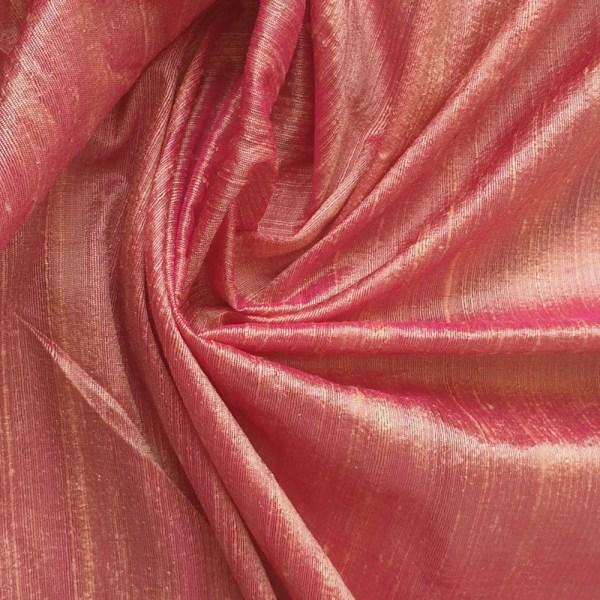 Peach Pink 100 Percent Pure Silk Dupioni Fabric Decorative