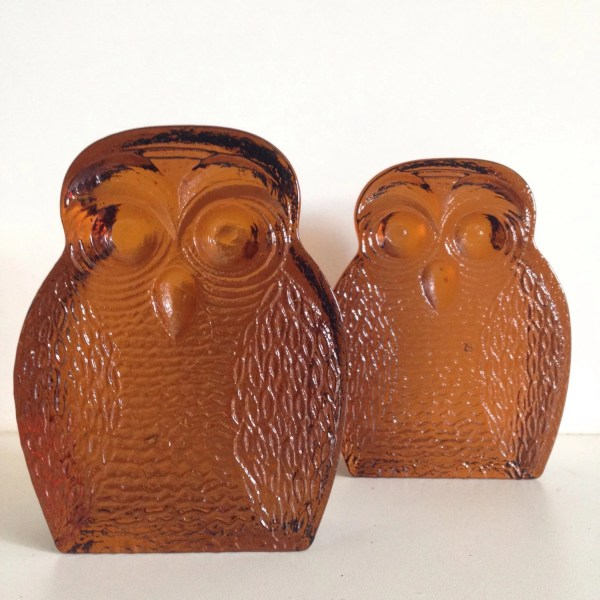 Pair Of Mid-century Amber Blenko Glass Owl