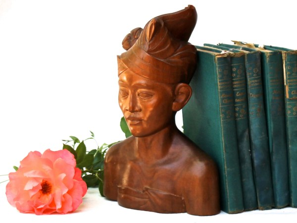 Hand Carved Teak Bust Indonesian Decorators Item Balinese