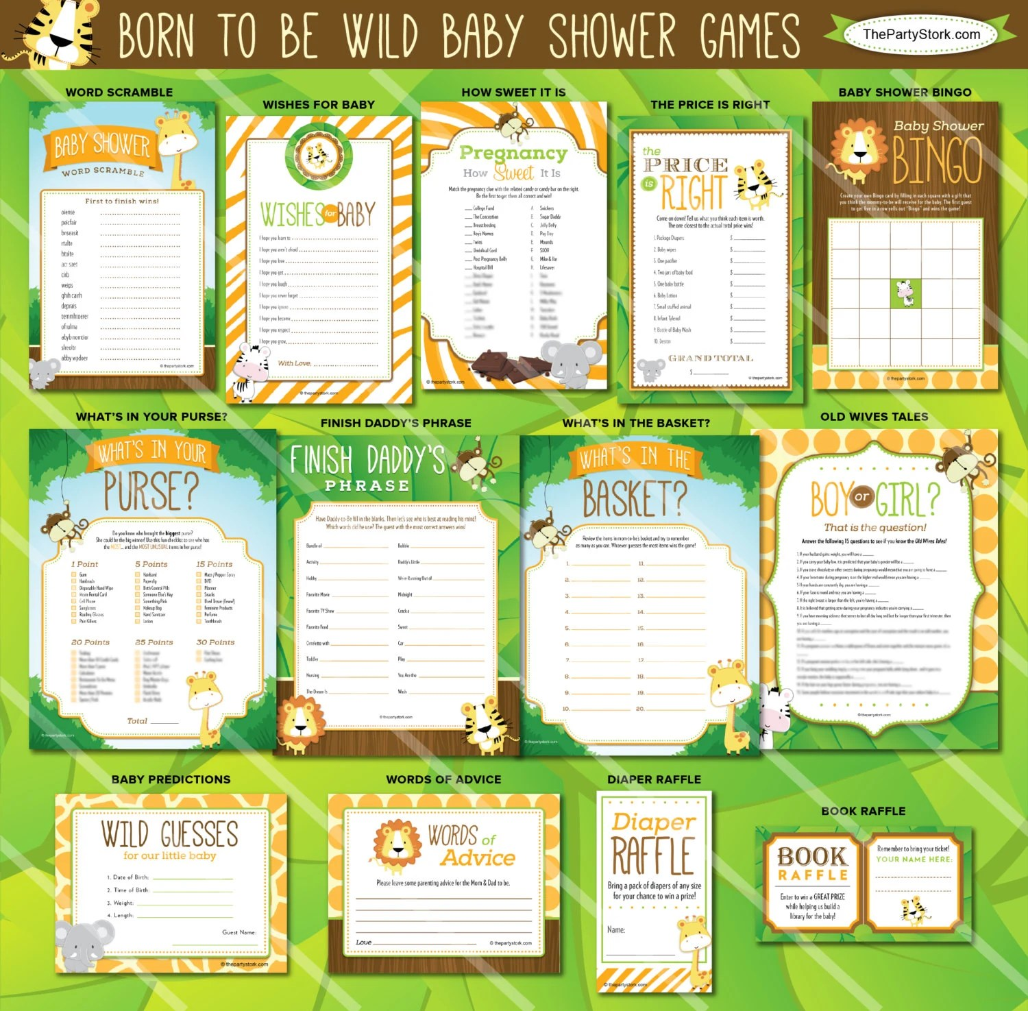 Safari Baby Shower Games Jungle Baby Shower Games Printable