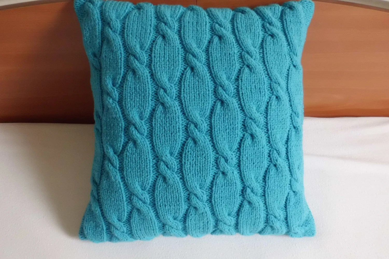 Cable Knit Pillow Case Knit Throw Pillow Teal Decorative
