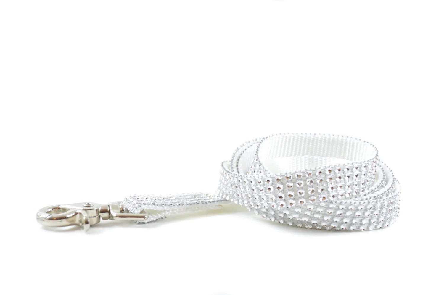 White Rhinestone Dog Leash Bling Diamond Swarovski-Like Dog