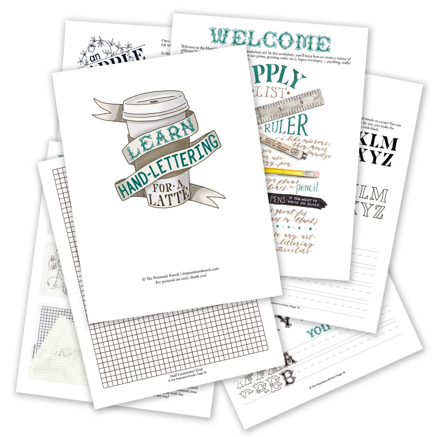 Printable Hand Lettering Worksheet Set 26 Page Set