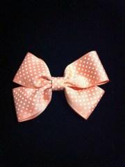 peach polka dot hair bow
