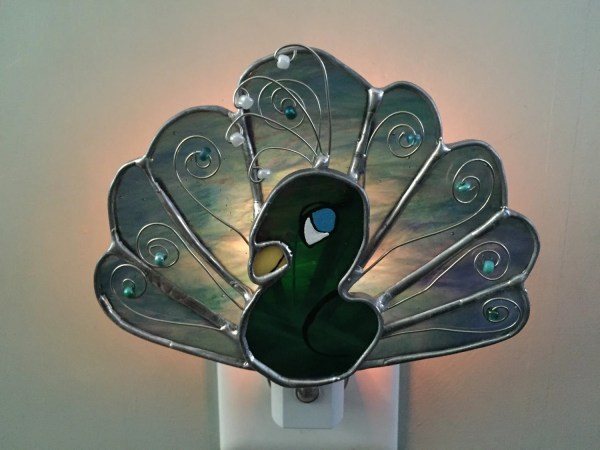 Peacock Stained Glass Night Light Sun Catcher Garden Decor