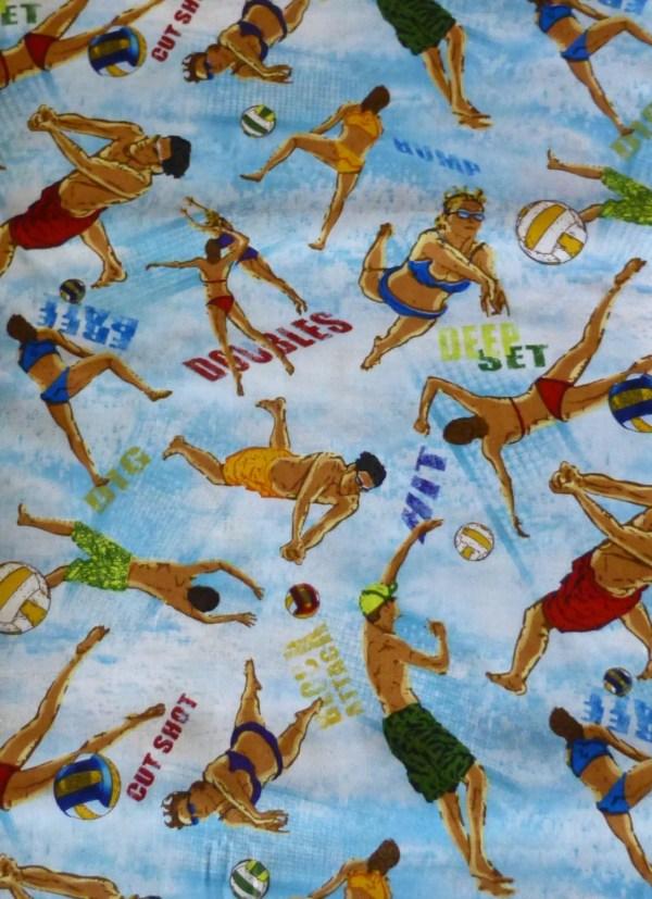 Cotton Fabric Quilt Sports Volleyball Sunsurfsand