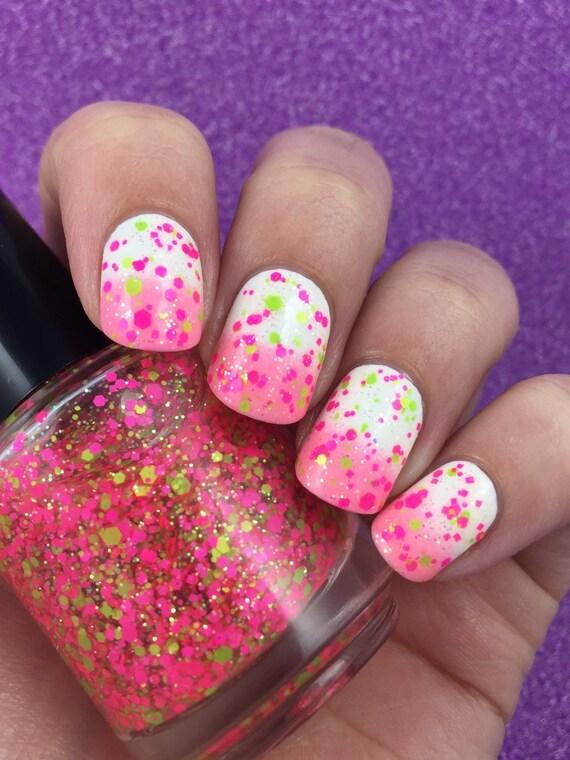 Watermelon Margarita Neon Glitter Topper Mix Indie Nail Polish